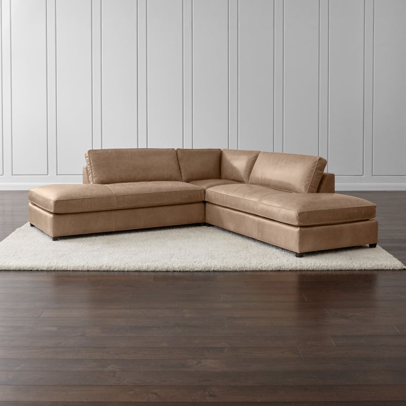 Dryden Leather 3-Piece Two Bumper Sectional
