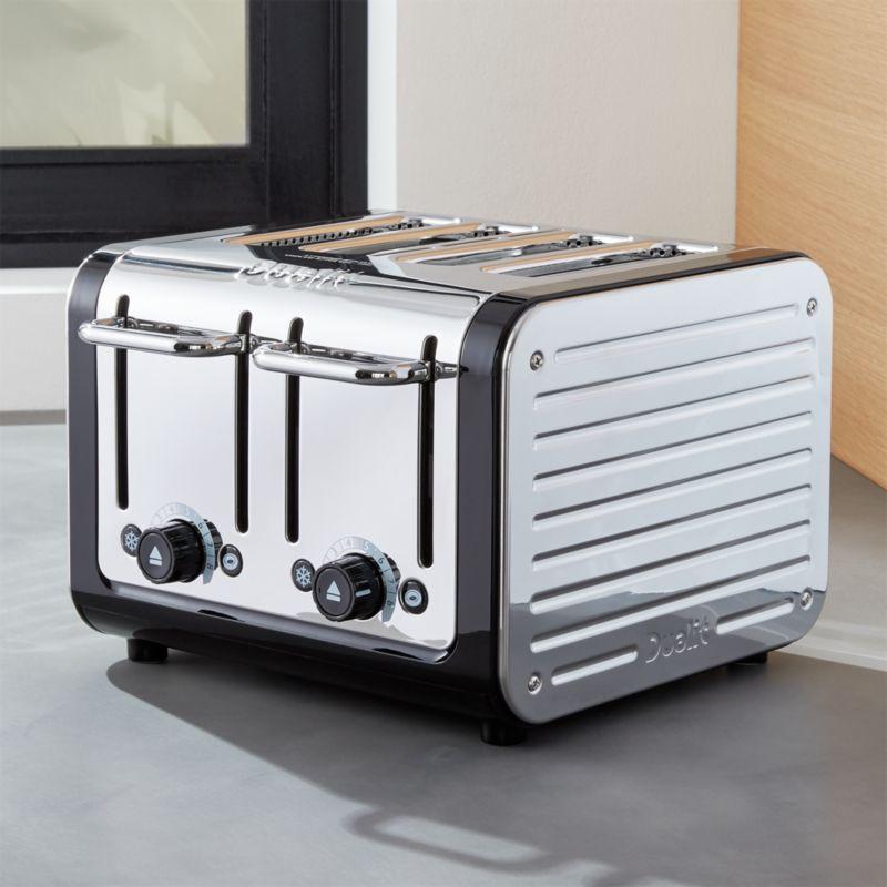 dualit design black stainless steel 4 slice toaster. Black Bedroom Furniture Sets. Home Design Ideas