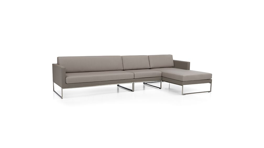 Dune Taupe 3-Piece Sectional Sofa with Sunbrella ® Cushions
