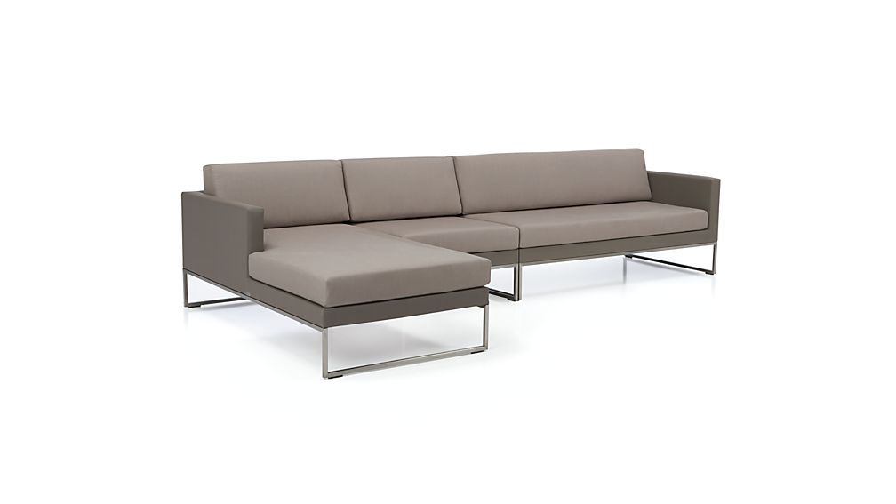 Dune 3 Piece Sectional Sofa with Sunbrella Cushions