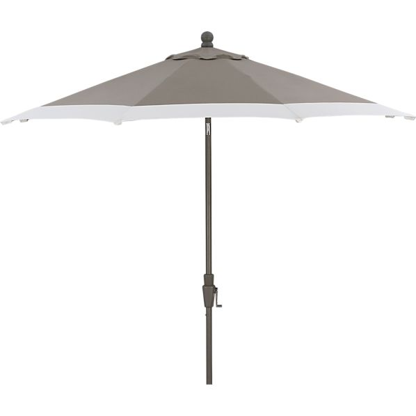 9' Round Sunbrella ® Taupe Banded Umbrella with Charcoal Frame