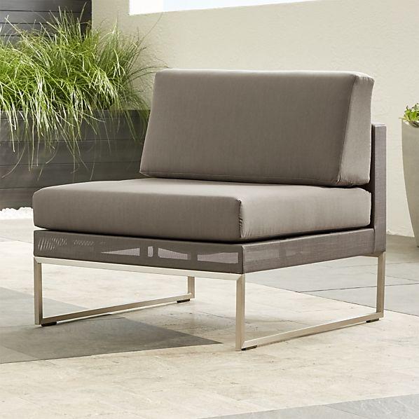 Dune Taupe Armless Chair with Sunbrella ® Cushions