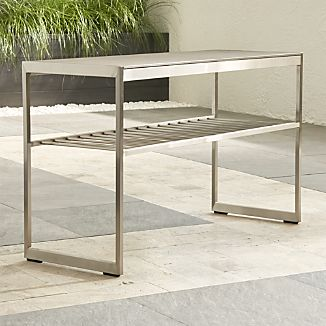Dune Console Table with Pebbled Glass