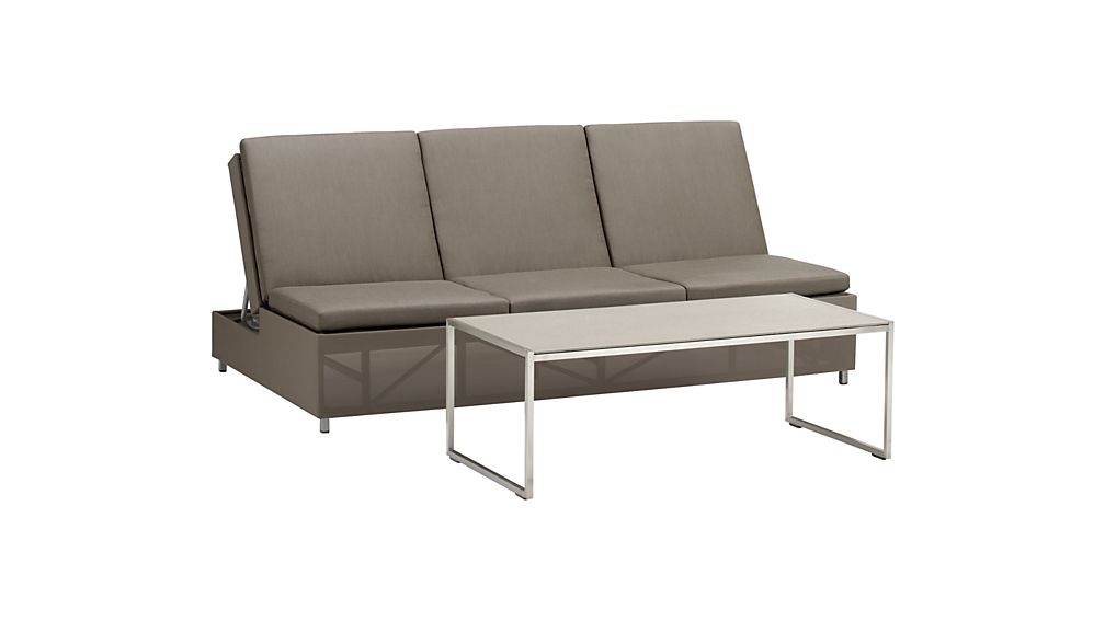 Dune Taupe Double Chaise Sofa Lounge with Sunbrella ® Cushions