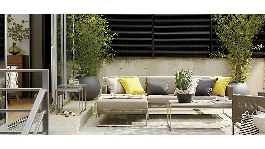 Dune Taupe Right Arm Chaise with Sunbrella ® Cushions