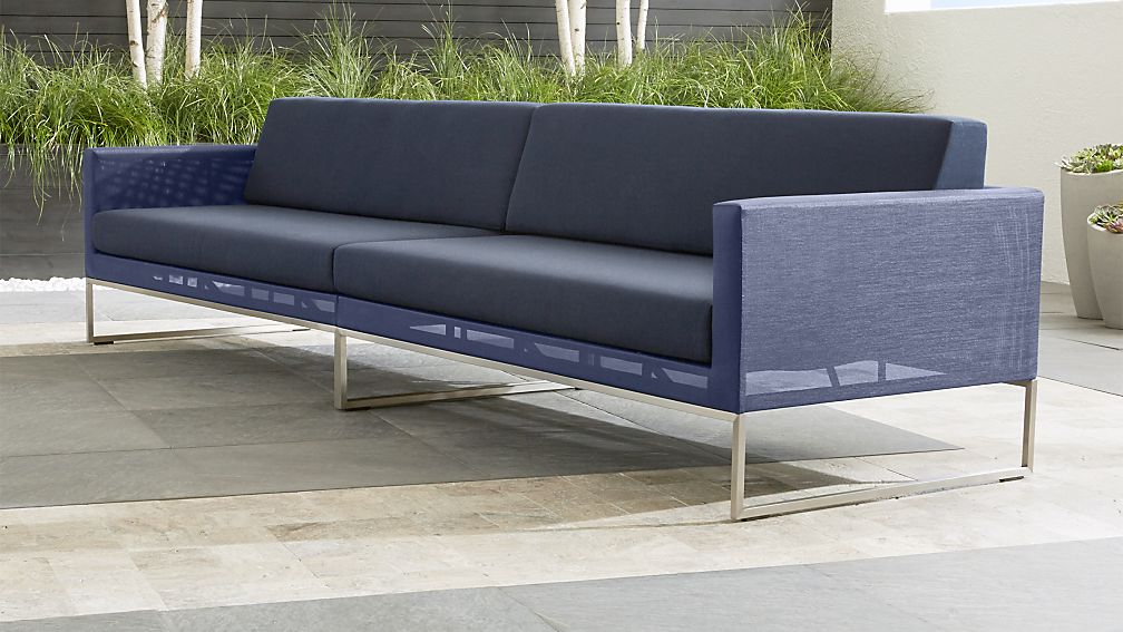 Dune Navy 2 Piece Sectional Sofa with Sunbrella Cushions