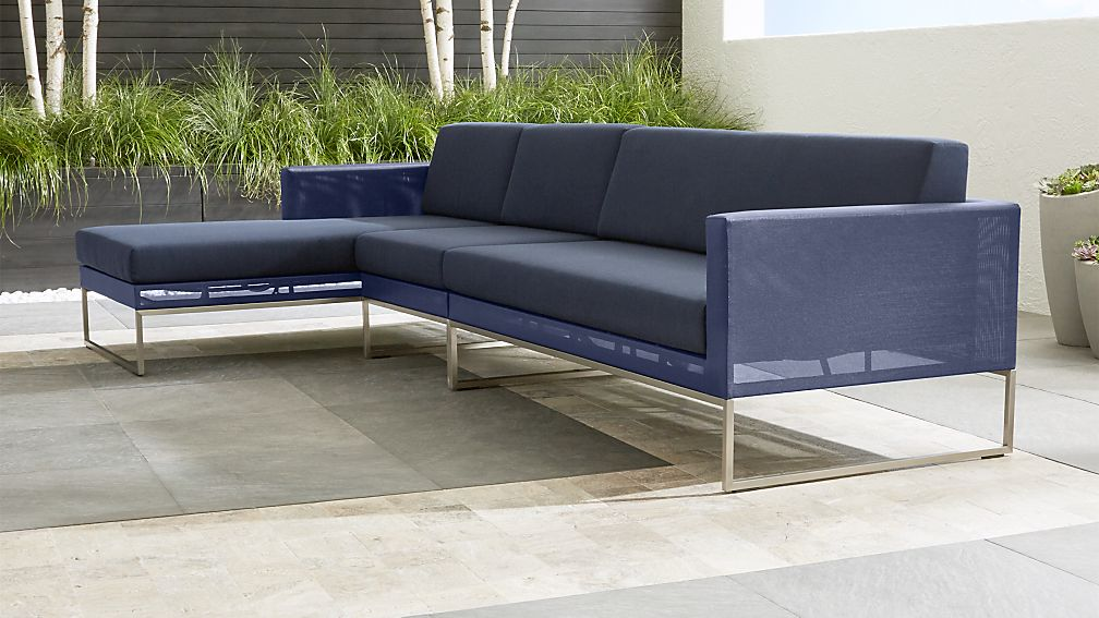 Dune Navy 3 Piece Left Arm Chaise Sectional Sofa with