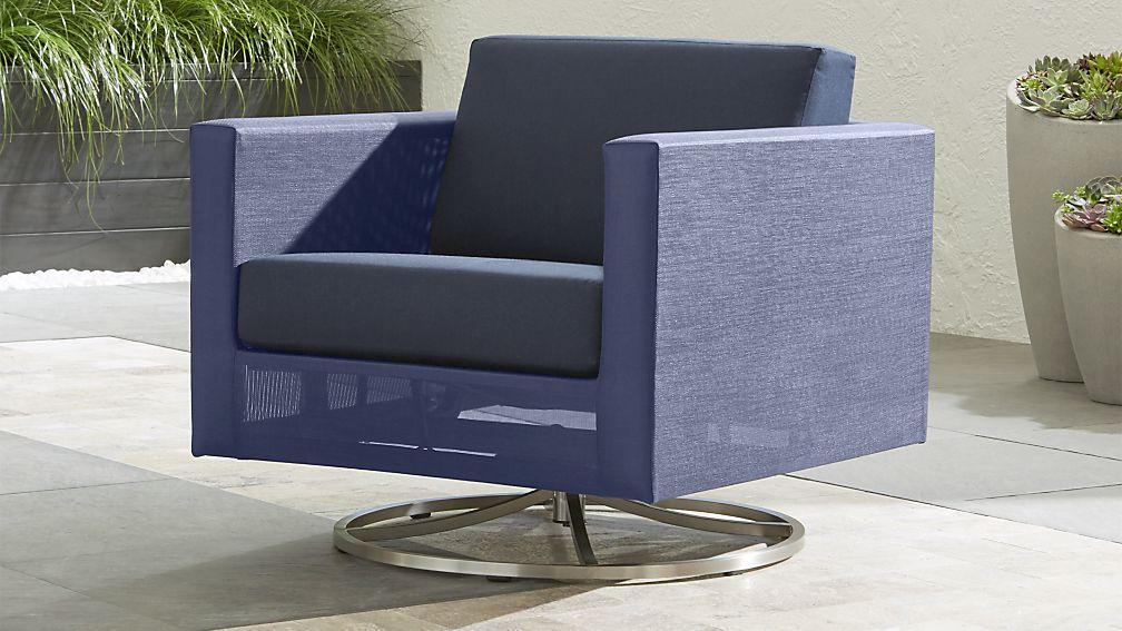 Dune Navy Swivel Lounge Chair with Sunbrella Cushions