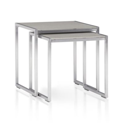Set of 2 Dune Nesting Tables with Pebbled Glass