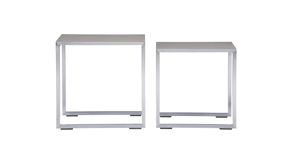 Dune Nesting Tables with Pebbled Glass Set of Two