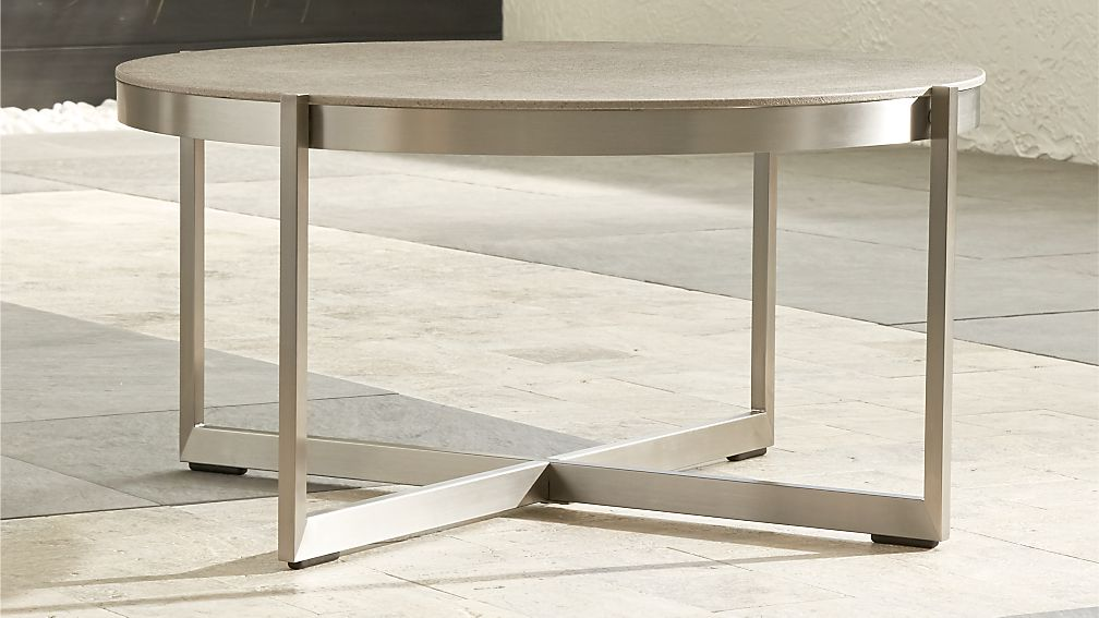 Dune Round Coffee Table with Pebbled Glass