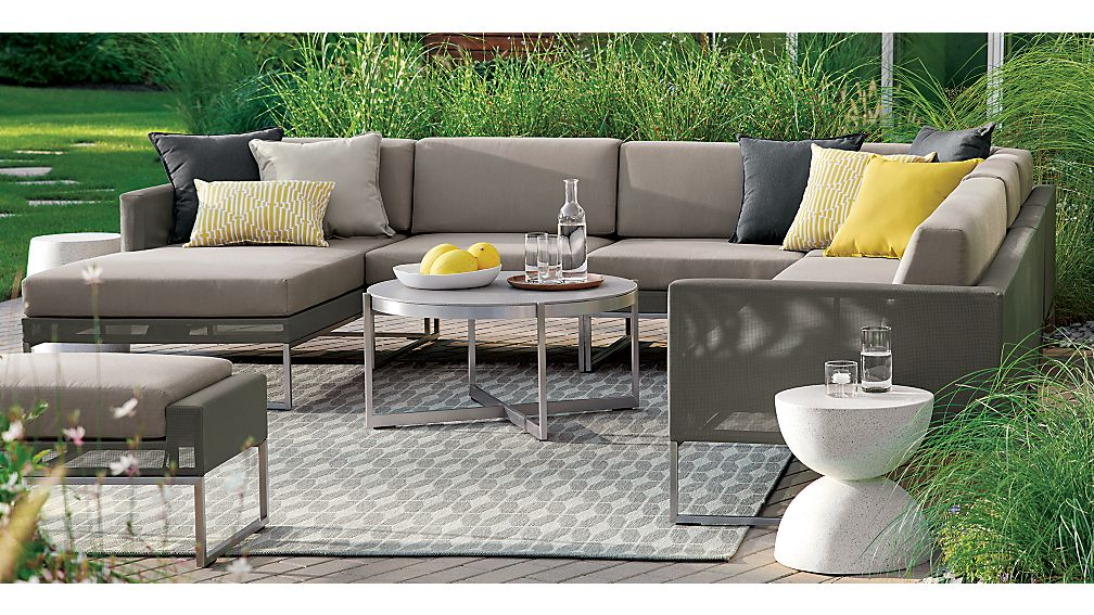Dune Taupe Right Arm Loveseat with Sunbrella ® Cushions