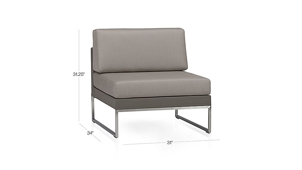 Dune armless chair with cushions crate and barrel for Crate and barrel armless chair