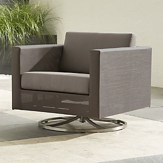 Dune Swivel Lounge Chair with Sunbrella ® Taupe Cushion