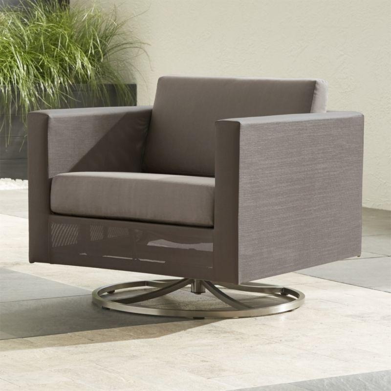 Dune Swivel Lounge Chair with Sunbrella ® Taupe Cushion