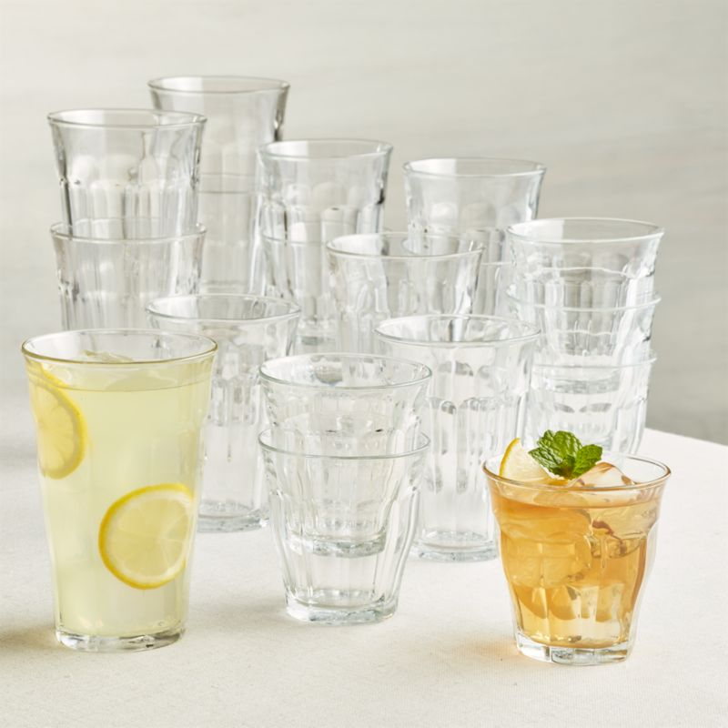Duralex 174 Picardie Glass Tumblers Set Of 18 Crate And Barrel