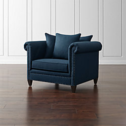 durham ottoman and a half tess sapphire crate and barrel. Black Bedroom Furniture Sets. Home Design Ideas