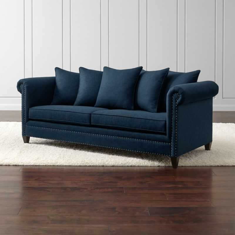Durham Navy Blue Couch With Nailheads Crate And Barrel