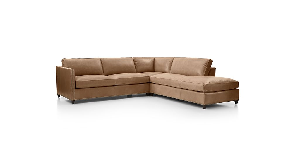 Dryden Leather 3-Piece Right Bumper Sectional with Nailheads