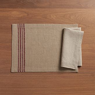 Easton Mulberry Stripe Placemat and Fete Zinfandel Napkin