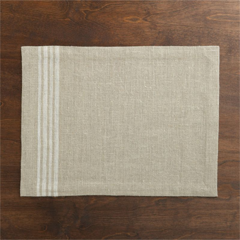Off-center quartet of casual white stripes sets off the textural appeal of 100% natural linen.<br /><br /><NEWTAG/><ul><li>100% linen</li><li>Machine wash cold, dry flat; warm iron as needed</li><li>Made in India</li></ul>