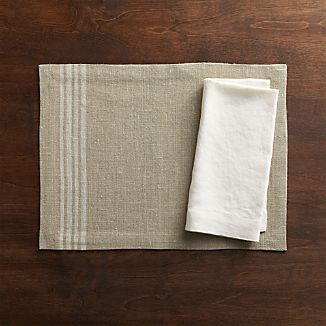 Easton White Stripe Placemat and Helena Vanilla Linen Napkin