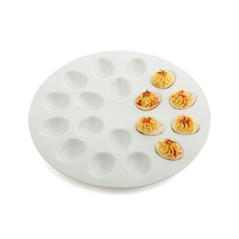 White Ceramic Deviled Egg Serving Platter