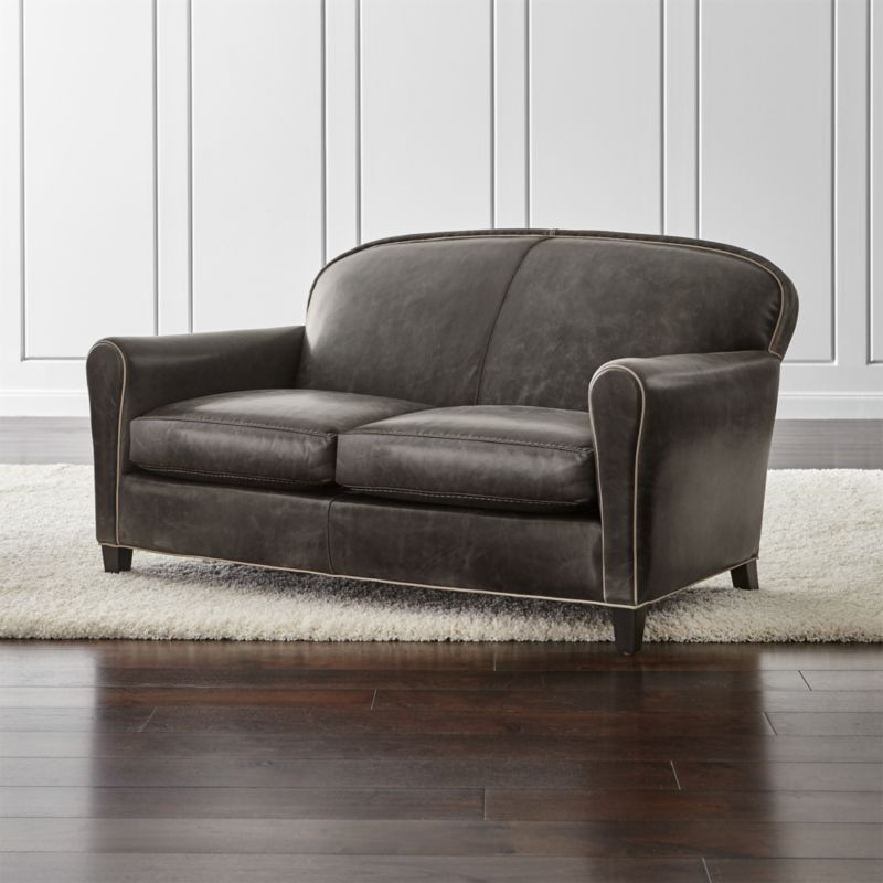 eiffel grey leather loveseat crate and barrel. Black Bedroom Furniture Sets. Home Design Ideas