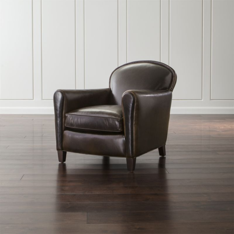 Our classic French Deco leather club chair has all the authentic provenance of the originals, from its low seat to its angled back. Eiffel is the epitome of comfort with a seat cushion crafted with eight-way hand-tied springs that support your every move. <NEWTAG/><ul><li>Frame is benchmade with sourced hardwood that's kiln-dried to prevent warping</li><li>Soy-based polyfoam seat cushions wrapped in regenerated synthetic fiber and encased in downproof ticking</li><li>Soy-based polyfoam and synthetic fiber back cushion</li><li>Eight-way hand-tied spring suspension</li><li>Hardwood legs with a black walnut finish</li><li>Made in North Carolina, USA of domestic and imported materials</li></ul><br />