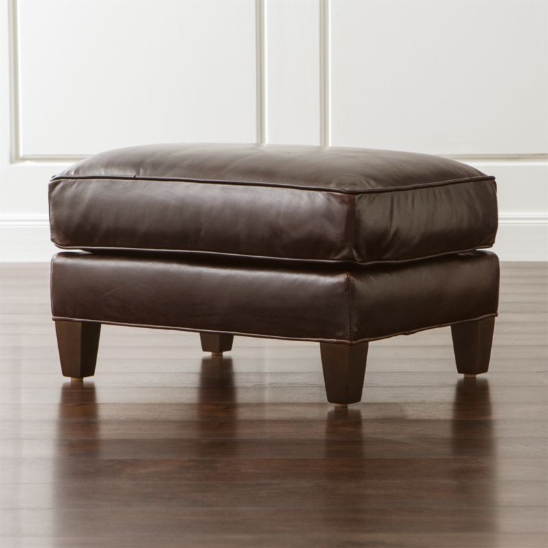 Eiffel Leather Ottoman Tampa Cigar Crate And Barrel