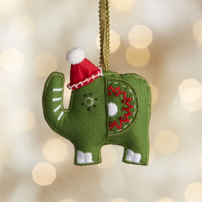 Green Elephant with Hat Felt Ornament
