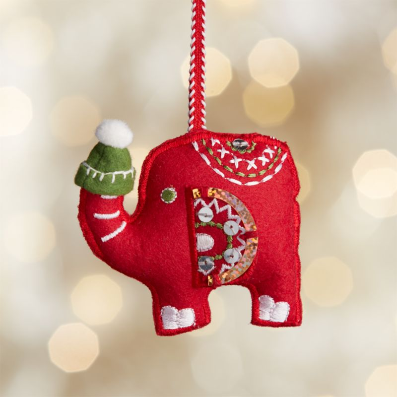 Red Elephant with Hat Felt Ornament