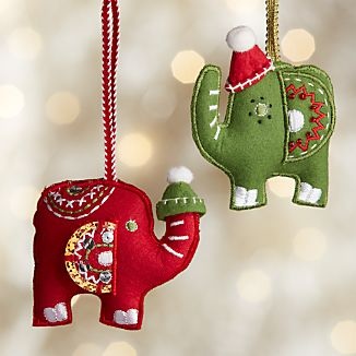 Elephants with Hat Felt Ornaments