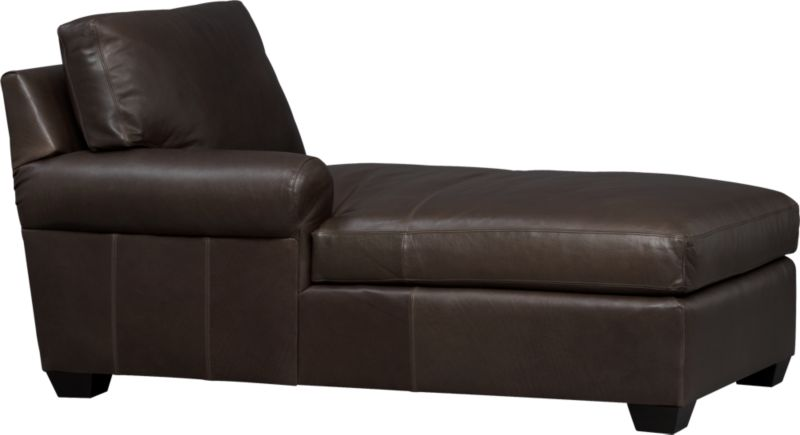 Oversized, pleasantly luxurious chaise revels in full-grain aniline leather as the ultimate roost for reading, relaxing and cozying. Oil tanning process lends rich undertones and enhances natural markings in a finish that will deepen and burnish over time. Made to mix modularly, single wide roll arm and plump back cushions frame deep seat cushions. Tapered block feet are stained mocha.<br /><br />After you place your order, we will send a leather swatch via next day air for your final approval. We will contact you to verify both your receipt and approval of the leather swatch before finalizing your order.<br /><br /><NEWTAG/><ul><li>Eco-friendly construction</li><li>Certified sustainable, kiln-dried hardwood frame</li><li>Seat cushions are soy-based polyfoam wrapped in fiber-down blend and encased in downproof ticking</li><li>Back cushions are 100% polyester fiber encased in downproof ticking</li><li>Sinuous wire spring suspension</li><li>Upholstered in full-grain, aniline-dyed leather with topstitching</li><li>Mocha-stained hardwood legs</li><li>Benchmade</li><li>See additional frame options below</li><li>Made in North Carolina, USA of domestic and imported materials</li></ul>