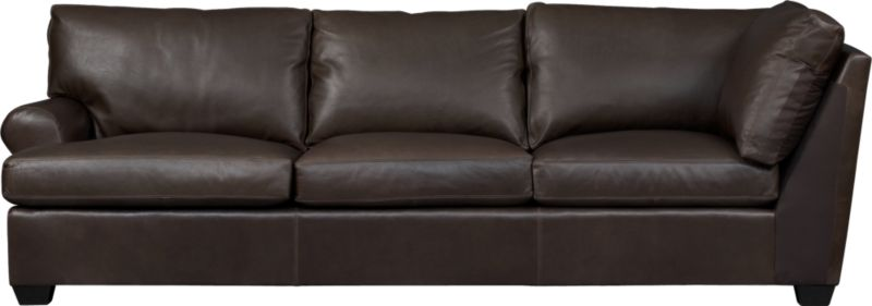 Oversized, pleasantly luxurious sofa revels in full-grain aniline leather as the ultimate roost for reading, relaxing and cozying. Oil tanning process lends rich undertones and enhances natural markings in a finish that will deepen and burnish over time. Made to mix modularly, single wide roll arm and plump back cushions frame deep seat cushions. Tapered block feet are stained mocha.<br /><br />After you place your order, we will send a leather swatch via next day air for your final approval. We will contact you to verify both your receipt and approval of the leather swatch before finalizing your order.<br /><br /><NEWTAG/><ul><li>Eco-friendly construction</li><li>Certified sustainable, kiln-dried hardwood frame</li><li>Seat cushions are soy-based polyfoam wrapped in fiber-down blend and encased in downproof ticking</li><li>Back cushions are 100% polyester fiber encased in downproof ticking</li><li>Sinuous wire spring suspension</li><li>Upholstered in full-grain, aniline-dyed leather with topstitching</li><li>Mocha-stained hardwood legs</li><li>Benchmade</li><li>See additional frame options below</li><li>Made in North Carolina, USA of domestic and imported materials</li></ul>