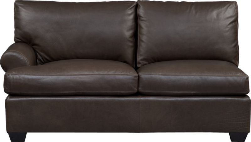 Oversized, pleasantly luxurious loveseat revels in full-grain aniline leather as the ultimate roost for reading, relaxing and cozying. Oil tanning process lends rich undertones and enhances natural markings in a finish that will deepen and burnish over time. Made to mix modularly, single wide roll arm and plump back cushions frame deep seat cushions. Tapered block feet are stained mocha.<br /><br />After you place your order, we will send a leather swatch via next day air for your final approval. We will contact you to verify both your receipt and approval of the leather swatch before finalizing your order.<br /><br /><NEWTAG/><ul><li>Eco-friendly construction</li><li>Certified sustainable, kiln-dried hardwood frame</li><li>Seat cushions are soy-based polyfoam wrapped in fiber-down blend and encased in downproof ticking</li><li>Back cushions are 100% polyester fiber encased in downproof ticking</li><li>Sinuous wire spring suspension</li><li>Upholstered in full-grain, aniline-dyed leather with topstitching</li><li>Mocha-stained hardwood legs</li><li>Benchmade</li><li>See additional frame options below</li><li>Made in North Carolina, USA of domestic and imported materials</li></ul>