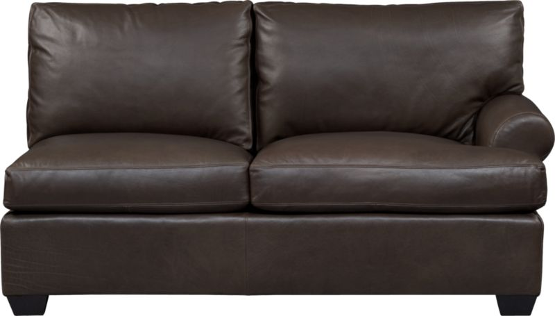 Oversized, pleasantly luxurious loveseat revels in full-grain aniline leather as the ultimate roost for reading, relaxing and cozying. Oil tanning process lends rich undertones and enhances natural markings in a finish that will deepen and burnish over time. Made to mix modularly, single wide roll arm and plump back cushions frame deep seat cushions. Tapered block feet are stained mocha.<br /><br />After you place your order, we will send a leather swatch via next day air for your final approval. We will contact you to verify both your receipt and approval of the leather swatch before finalizing your order.<br /><br /><NEWTAG/><ul><li>Eco-friendly construction</li><li>Certified sustainable, kiln-dried hardwood frame</li><li>Seat cushions are soy-based polyfoam wrapped in fiber-down blend and encased in downproof ticking</li><li>Back cushions are 100% polyester fiber encased in downproof ticking</li><li>Sinuous wire spring suspension</li><li>Upholstered in full-grain, aniline-dyed leather with topstitching</li><li>Mocha-stained hardwood legs</li><li>Benchmade</li><li>See additional frame options below</li><li>Made in North Carolina, USA</li></ul>