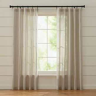 Ellsbury Linen with Green Stripe Curtains