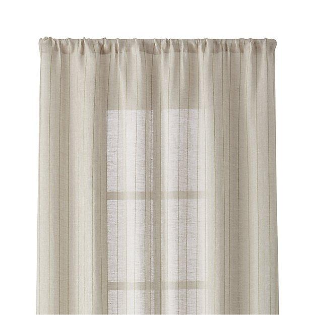 "Ellsbury 48""x96"" Linen with Green Stripe Curtain Panel"