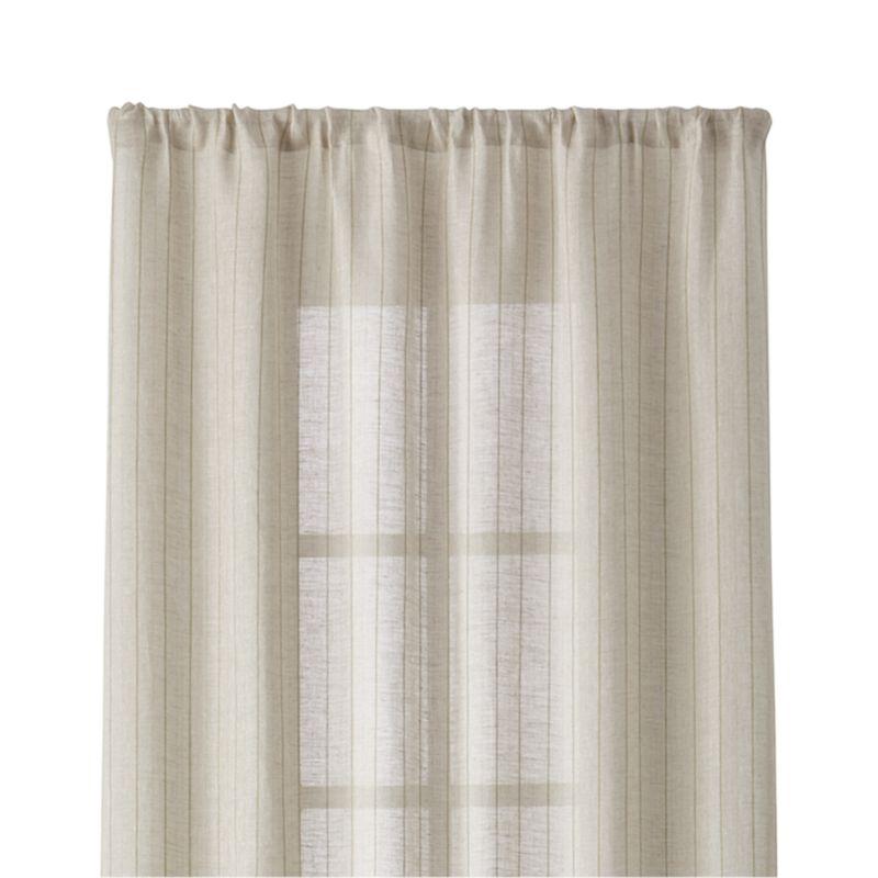 "Ellsbury 48""x84"" Linen with Green Stripe Curtain Panel"