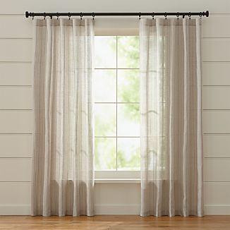 Ellsbury Linen with Purple Stripe Curtains