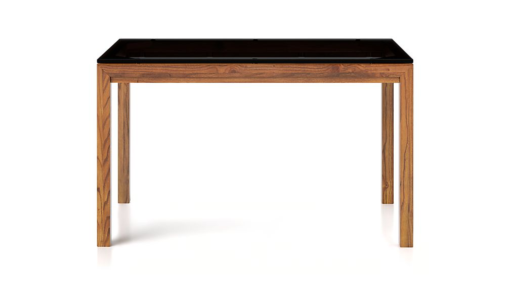 Grey Glass Top/ Elm Base 48x28 High Dining Table