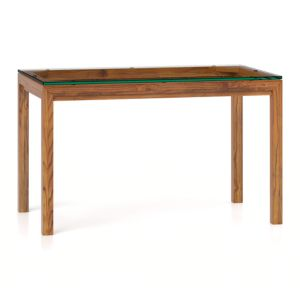 Glass Top/ Elm Base 48x28 Dining Table