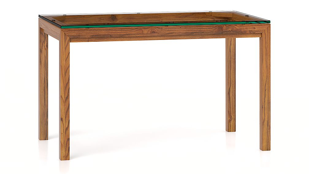 Clear Glass Top/ Elm Base 48x28 Dining Table