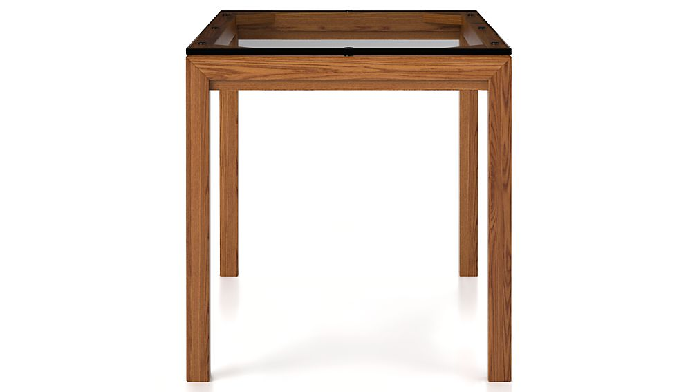 Clear Glass Top/ Elm Base 72x42 Dining Table