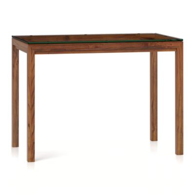 Glass Top/ Elm Base 48x28 High Dining Table