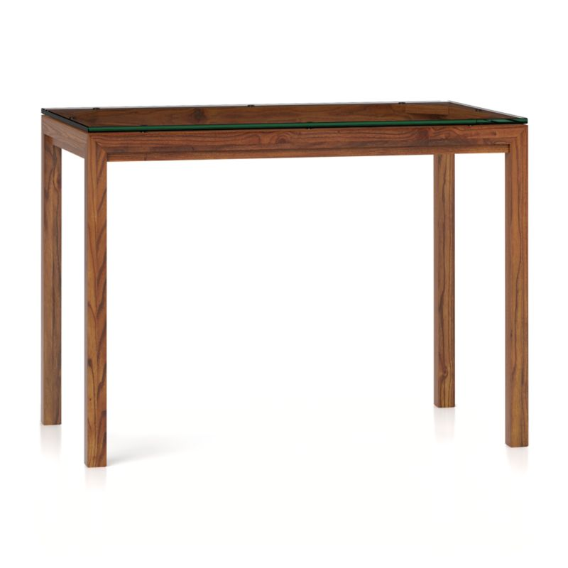 Clear Glass Top/ Elm Base 48x28 High Dining Table