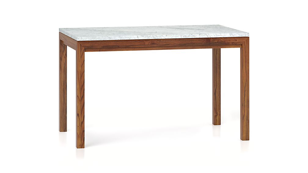Marble top elm base 72x42 dining table crate and barrel for Marble top dining table