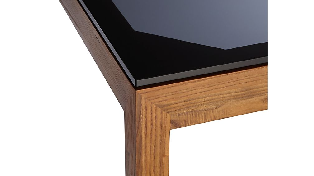 Grey Glass Top/ Elm Base 48x28 Dining Table