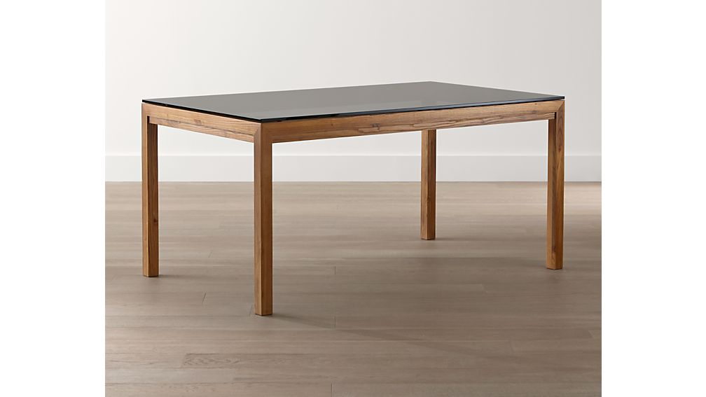Grey glass top elm base 60x36 dining table crate and barrel for Glass top dining table 36 x 60